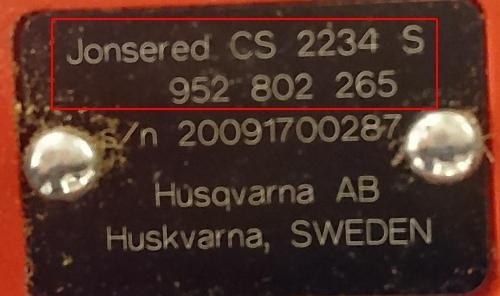 Jonsered reservdelar produktnummer etikett