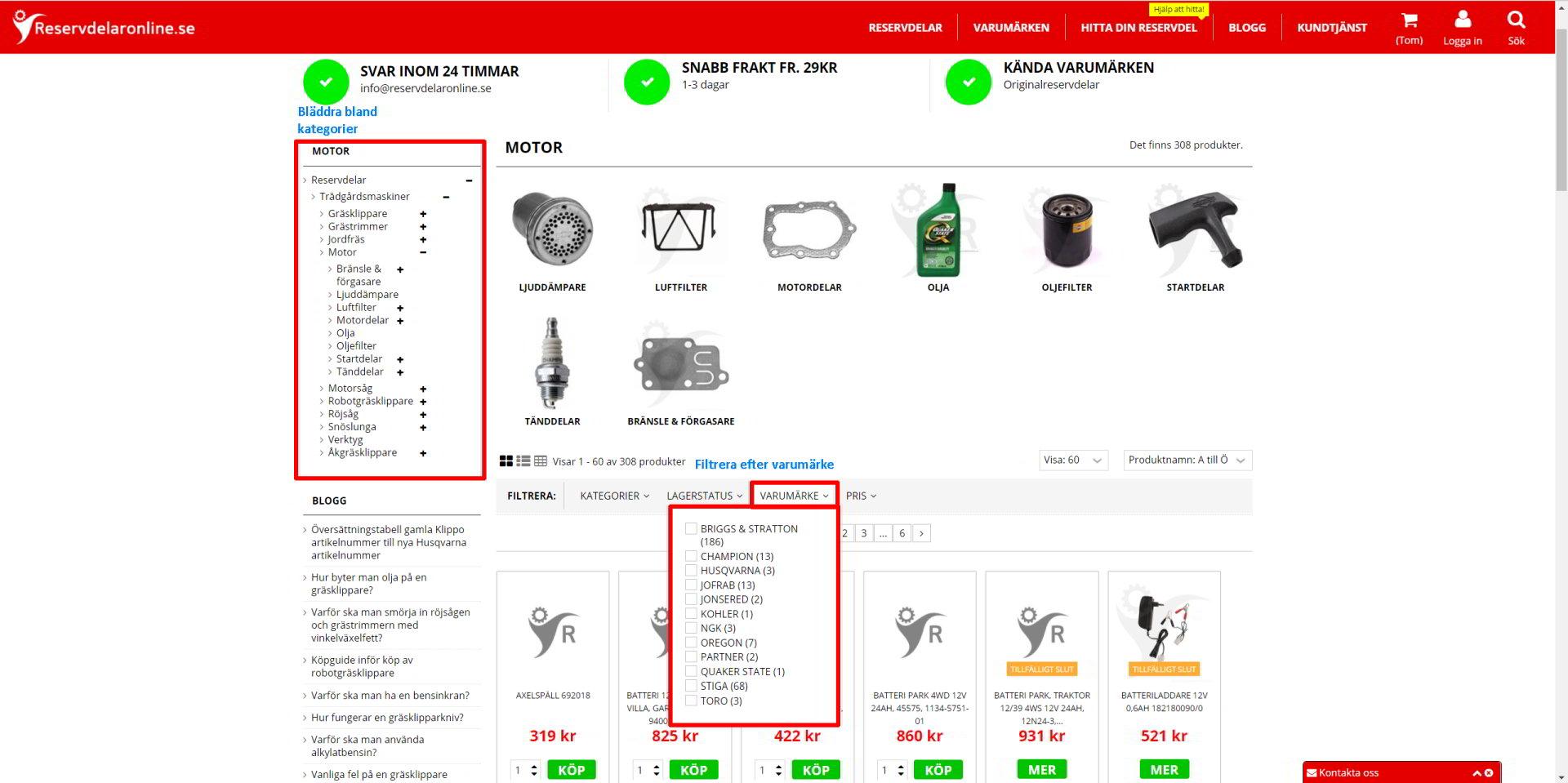 Bläddra bland kategorier och filtrera efter varumärke