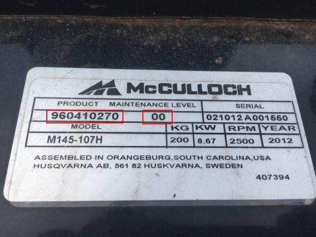 McCulloch Produktnummer